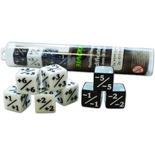 Blackfire Dice - W6 mit Positiv/Negativ Werten - Set mit 8 Würfeln